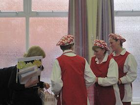 The kitchen staff make a presentation.