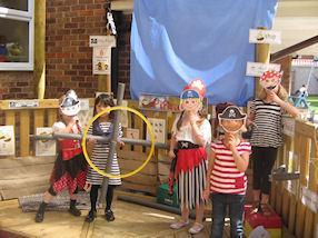 Shiver me timbers! Pirates looking for treasure.