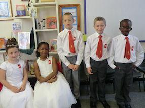Children waiting patiently for the Mass to begin.