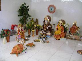 Statues of different Hindu deities.