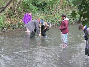 Measuring the depth of the river.