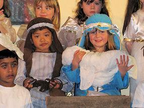 Mary and Joseph with Baby Jesus were happy.