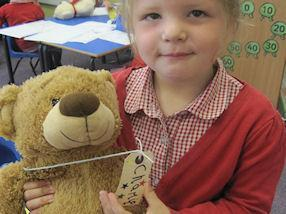 We enjoyed making name labels for our teddy bears.