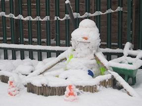 This is Bob the Builder Snowman