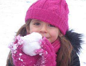 The children enjoyed making snowballs.
