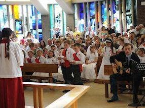 Singing a hymn of thanksgiving.