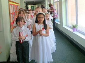 Children waiting in procession