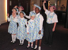 Our Von Trapp children sing 'So long, farewell'.