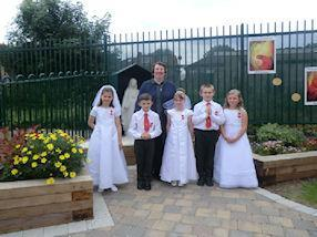 Holy Communion children with Sister Susan