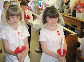 The candle lit procession.