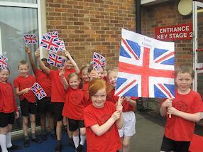 The United Kingdom flag bearers.