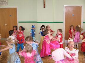 The children enjoyed dancing together.