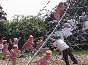 We enjoyed swinging and climbing together.