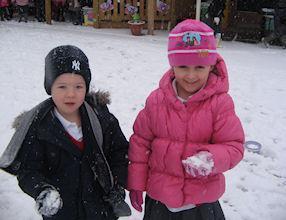 The snow felt very cold.