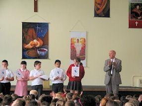 Mr Howell congratulates pupils