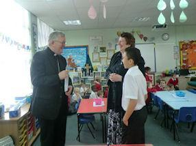 One of our pupils talking to the Archbishop