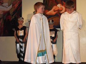 Pontius Pilate questioning Jesus.