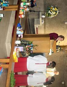 Sister Sabina thanking the community