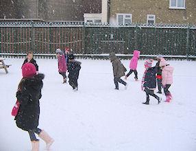 We enjoyed walking in the snow.