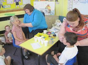 The children enjoyed having their faces painted