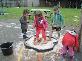 We added bubbles, glitter and powder paints