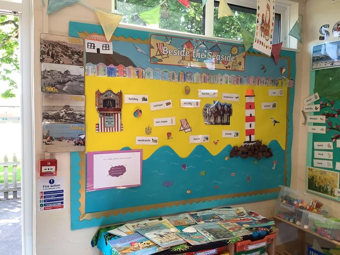 Everyone decorated their own beach hut today to add to our display.