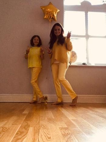 Miss Chronnell and Olive rocking yellow whist self isolating!