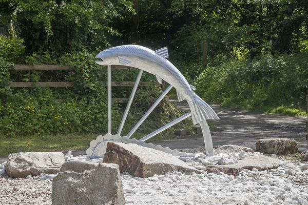 The beautiful new salmon sculpture