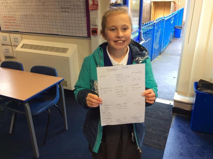 Hannah was the first back with her completed sheet (23 mins)