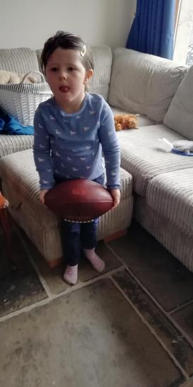 Olivia completing the rugby challenge