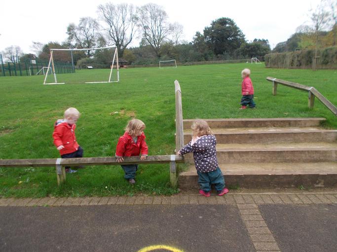 Exploring the school grounds