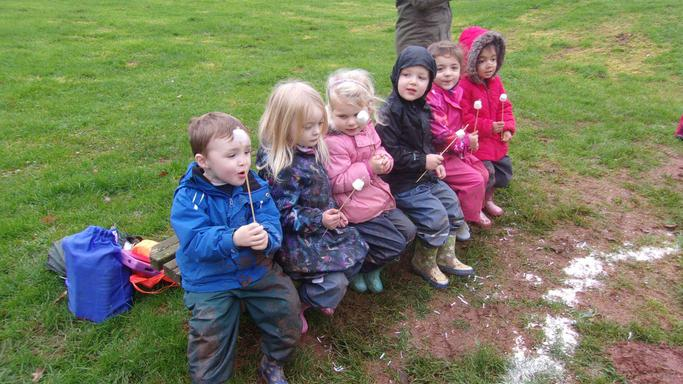Forest School - toasting marshmallows on the fire!