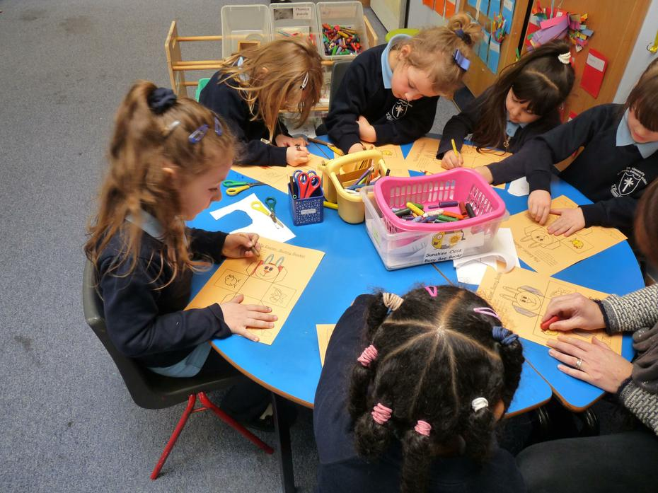 Reception children working