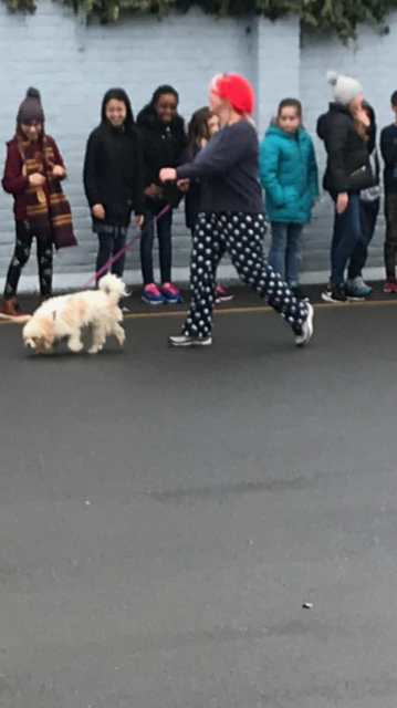 Running with Winnie, the school dog!