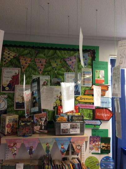 We write reviews for our class reads on the back of the covers and hang them on display.