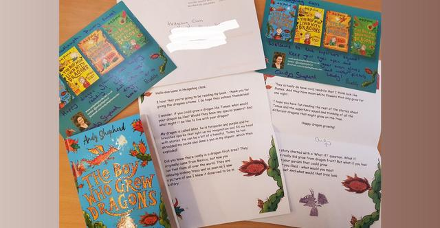 Hedgehogs received a letter from Andy Shepherd - the author of The Boy Who Grew Dragons!