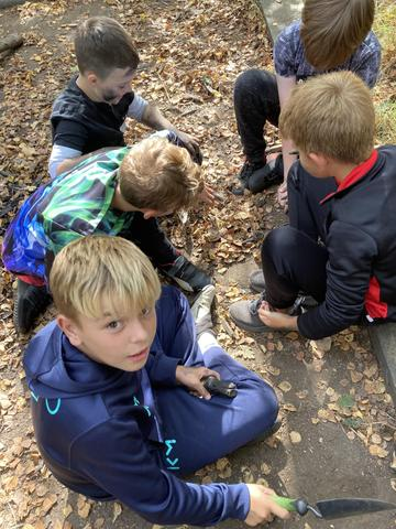 This group dug a hole and covered it with leaves.