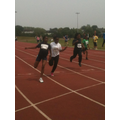 Winning 2nd place in the 80 m final.