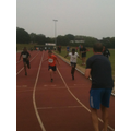 Winning 1st in the 200 m final.