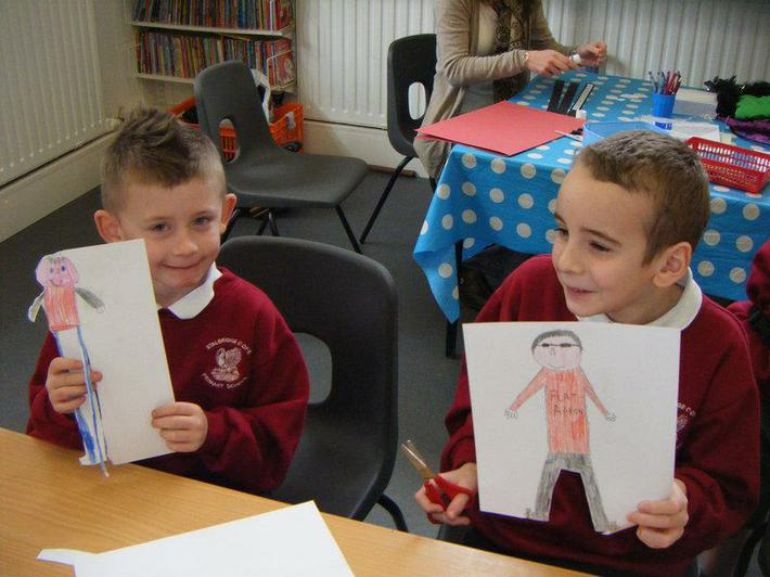 Year 5 and Year 2 worked together
