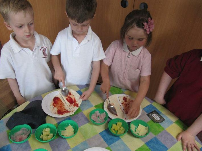 We made halving pizzas.