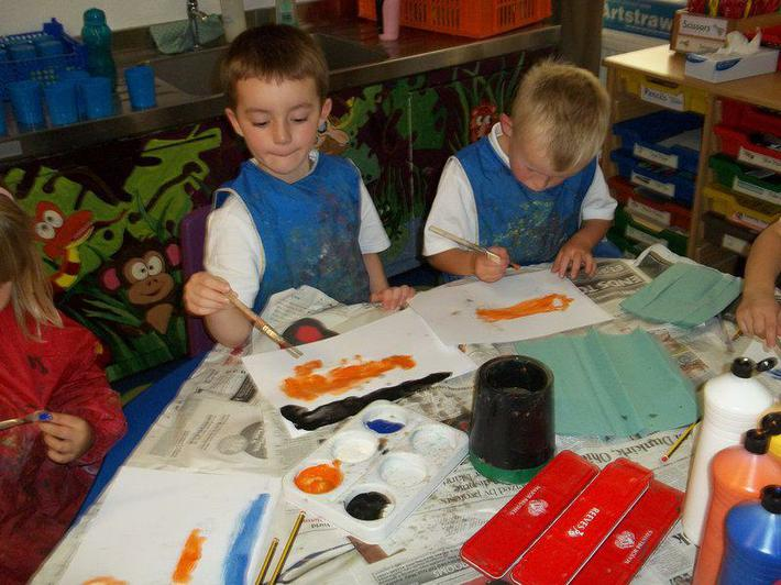 We were busy painting foxes for our display