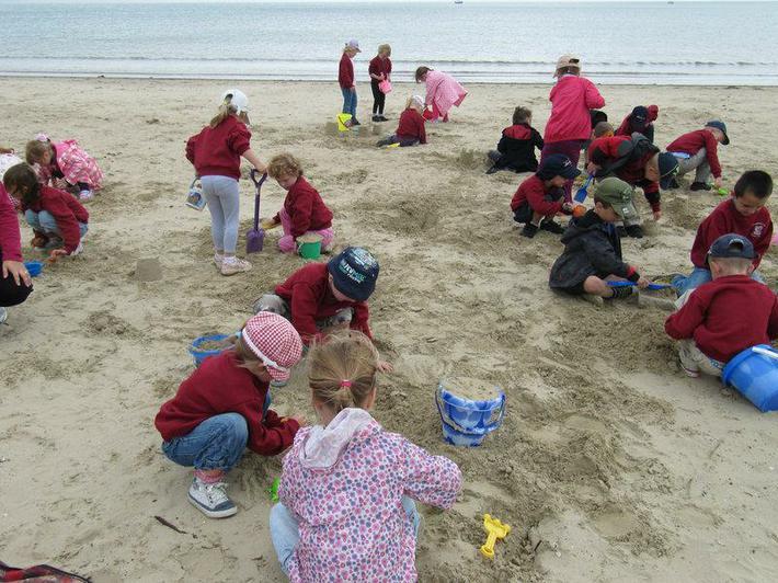 We built sandcastles on on the beach.