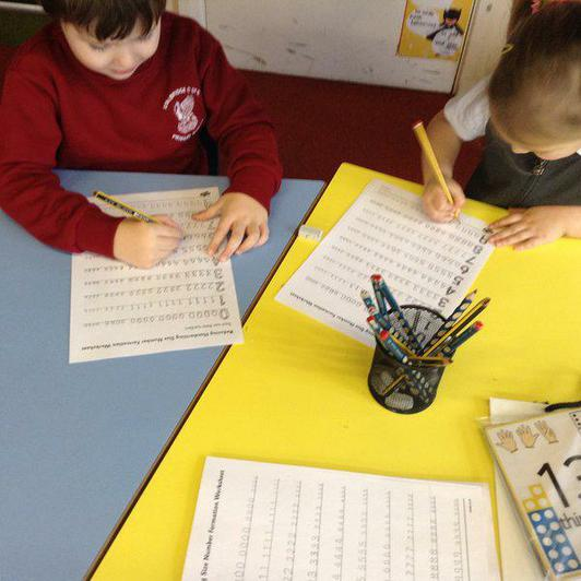 Reception work on number day