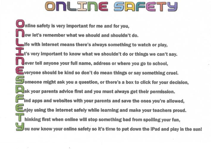Our online safety poster designed by Finley.