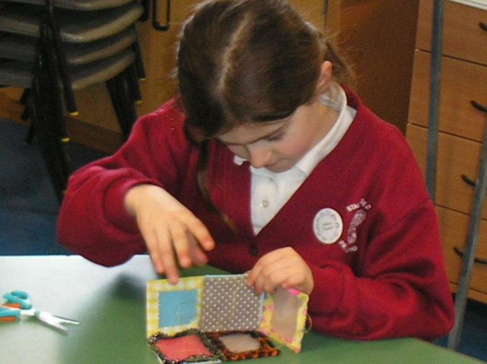Sewing squares together.