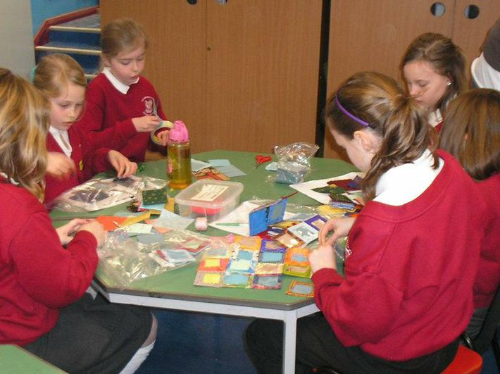 Concentrating from some Year 4 girls.