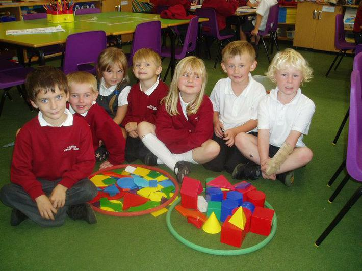 Sorting Shapes into Solid and flat shapes.