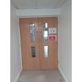 Doors into School Kitchen