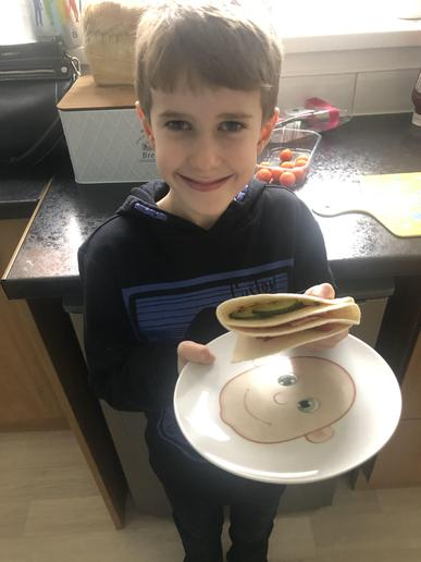 Finley enjoyed his Gyros and would like to add even more ingredients next time.